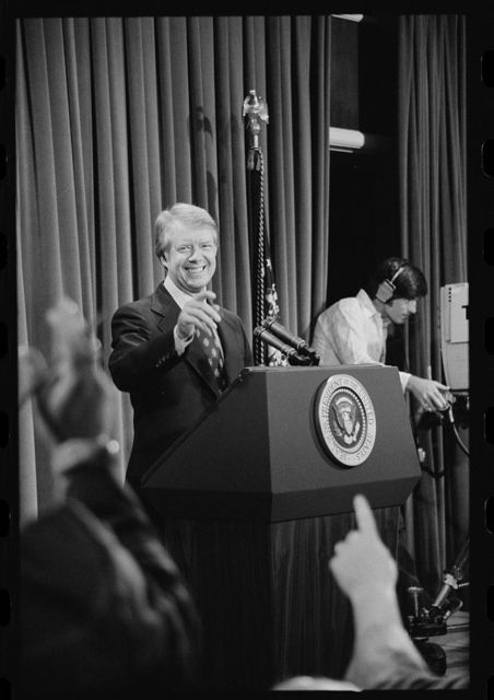 [President Jimmy Carter at a press conference, taking a question]