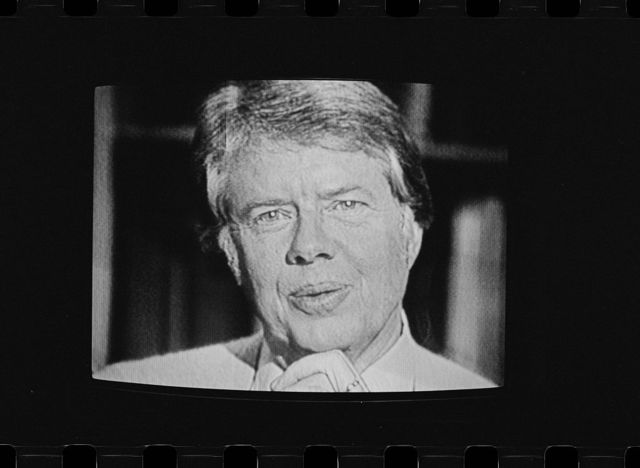 [President Jimmy Carter on television during his first fireside chat at the White House, Washington, D.C.]