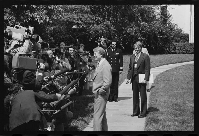 [President Jimmy Carter speaks to the media after the departure of Jordan's King Hussein from the White House, Washington, D.C.]