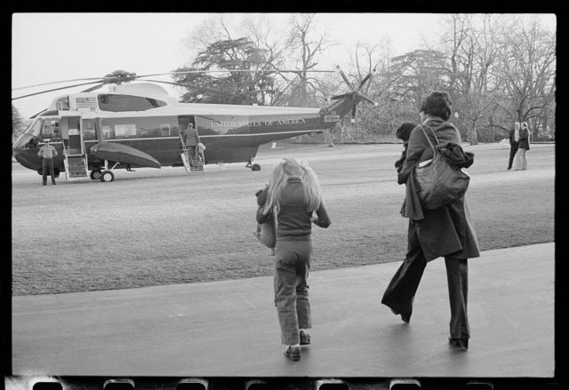 [President Jimmy Carter's family departs to Camp David via helicopter from the White House lawn, Washington, D.C.]