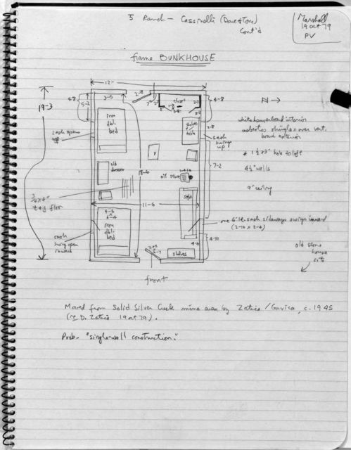 Bunkhouse Plan, Cassinelli Brothers Ranch
