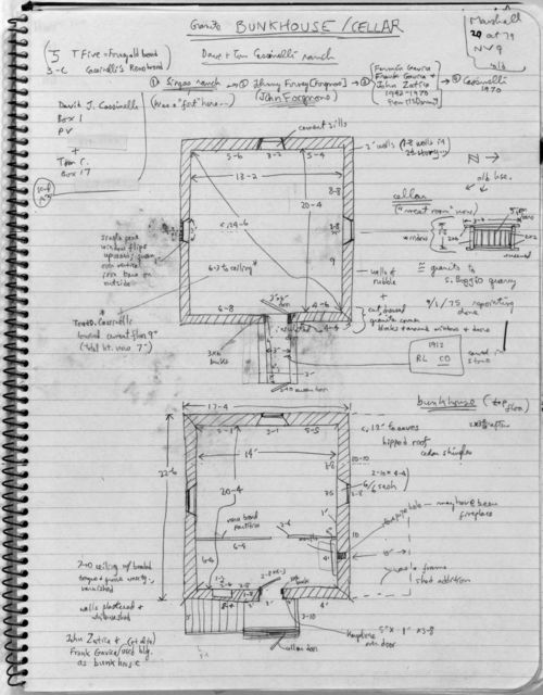 Bunkhouse Plan with Cellar, Cassinelli Brothers Ranch