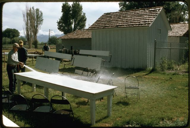 Cleaning Off  Picnic Tables