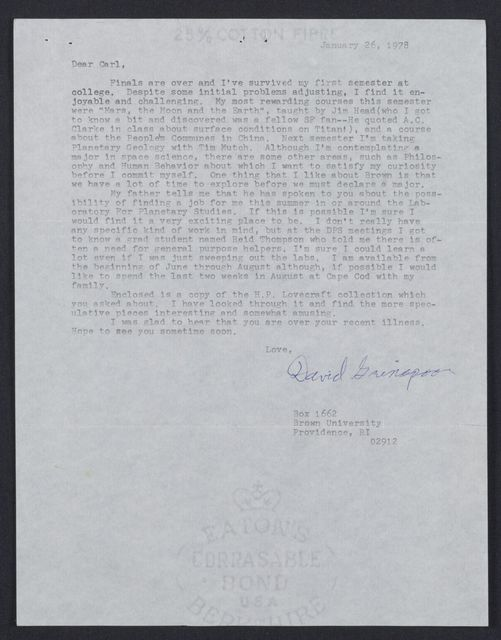 Letter From David Grinspoon
