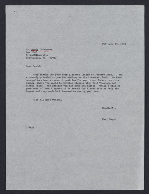 Letter to David Grinspoon