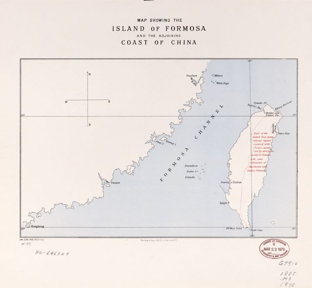Map showing the Island of Formosa and the adjoining coast of China.