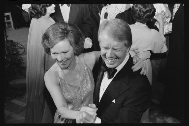[President Jimmy Carter and First Lady Rosalynn Carter dance at a White House Congressional Ball, Washington, D.C.]
