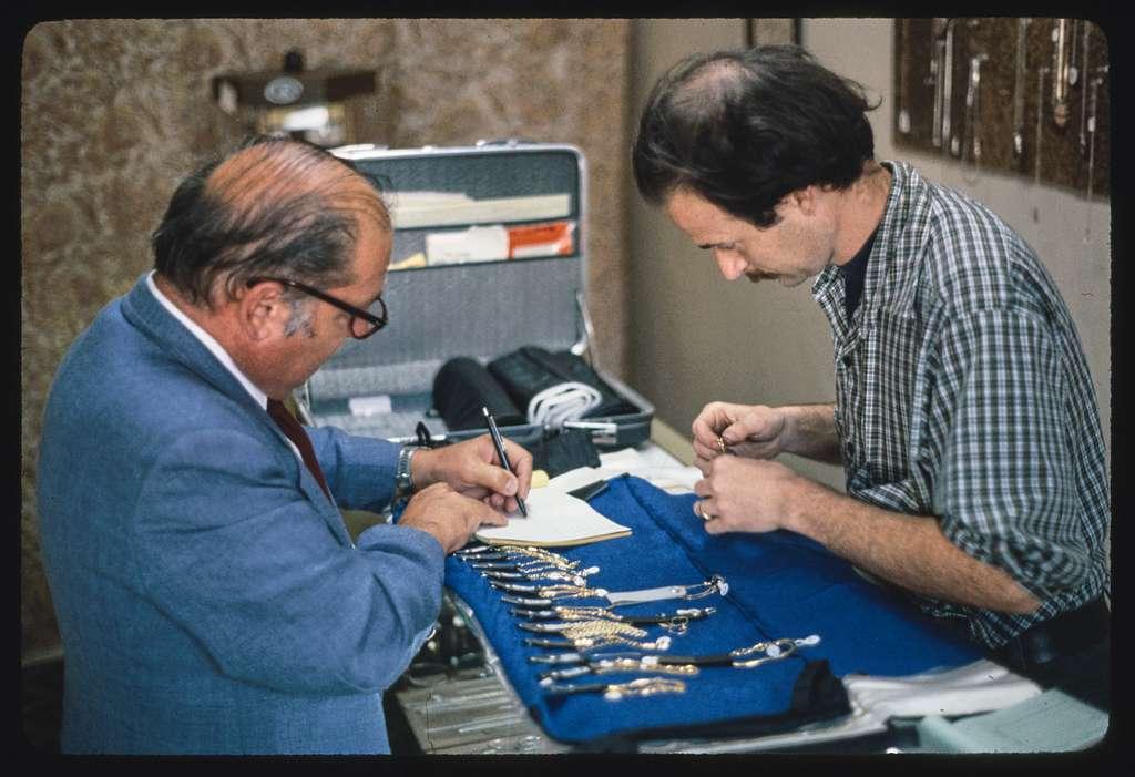 Finished bracelet, Wickford Jewelry Shop; Salesman interchange in jewelry shop, Wickford, Rhode Island