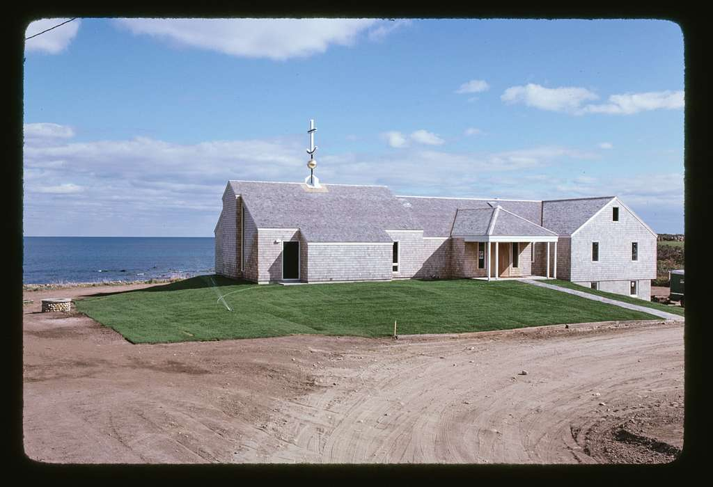 Houses, church, and cemetery, Block Island, Rhode Island