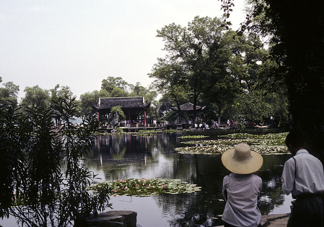 [Lily pond at a garden, with two tourists in the foreground, and with a pavilion and bridge in the background, in China]
