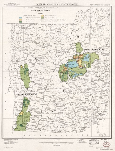 New Hampshire and Vermont, roadless & undeveloped area evaluation II, RARE II final environmental statement : January 1979.
