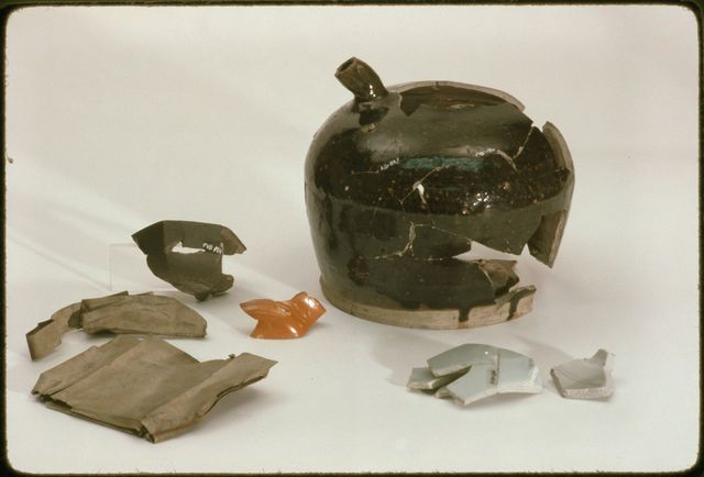 Opium Tin and Pipes, Soy Jug, and Bowl Fragments