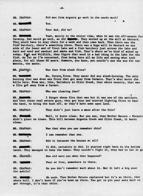 Oral history with 62 year old male, Argenta, British Columbia (Transcript)