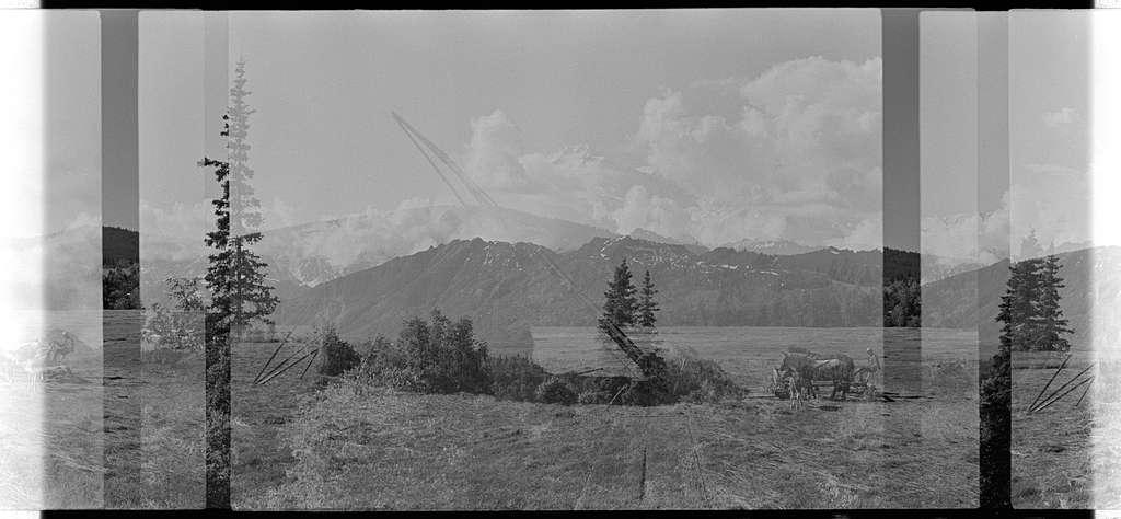 Raking and stacking hay at Johnny Senecal's FarmRanch outside of Avon, Montana