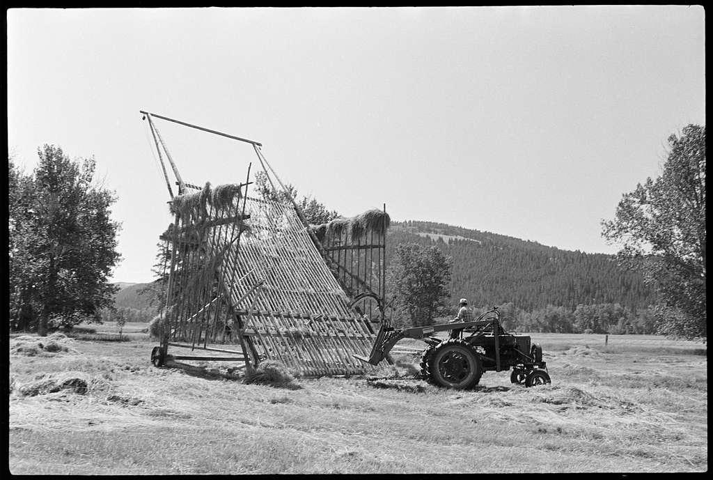 Raking the hay at Johnny Senecal's ranch outside of Avon, Montana