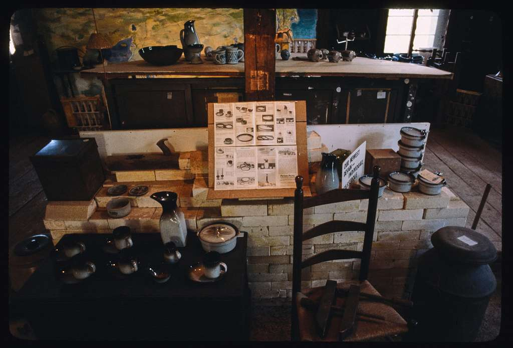Sanding and stacking the kiln, Peter Pot's Pottery, West Kingston, Rhode Island
