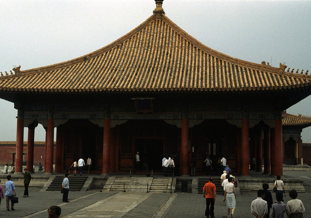 [Temple in the Forbidden City, with plaza and tourists, Beijing, China]