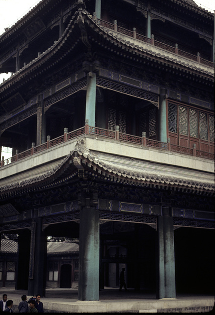[Three story building as the theater stage for the Peking Opera]