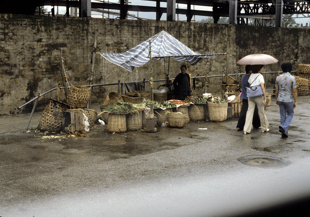 [Three women pedestrians passing a street vendor selling vegetables, in China]