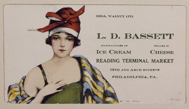 1920s-vintage advertising flier for the Bassett's Ice Cream stand in the Reading Terminal Market, Philadelphia, Pennsylvania