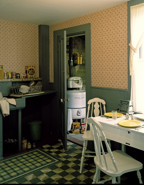 1950s kitchen at Strawbery Banke Colonial Village, a restored city neighborhood in Portsmouth, New Hampshire