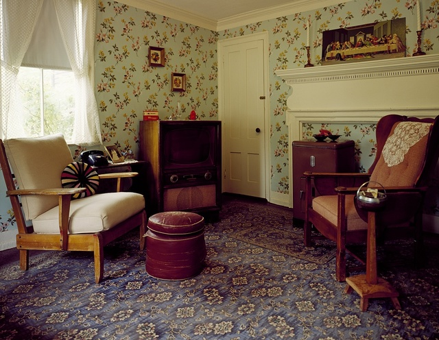 1950s living room interior at Strawbery Banke Museum, Portsmouth, New Hampshire