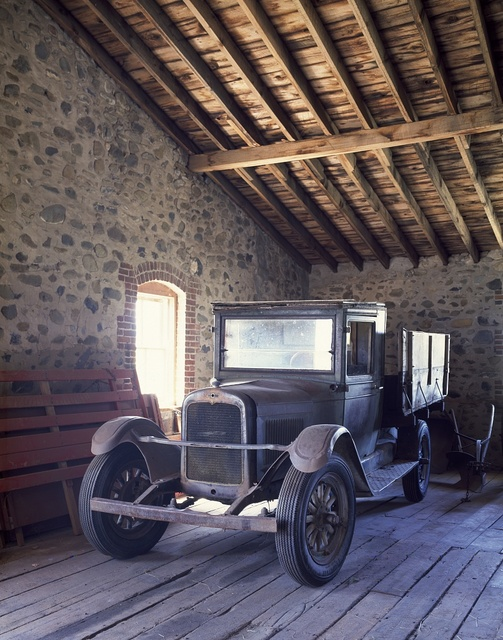 A classic 1925 Chevrolet truck is housed inside the Child-Kleffner Ranch's big barn, East Helena, Montana