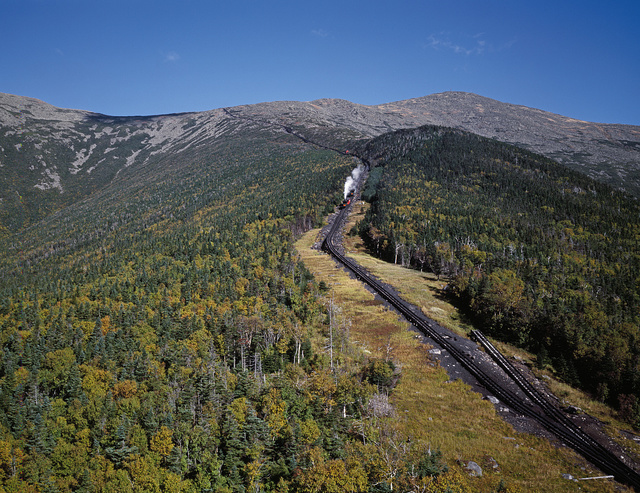 A cog railway on New Hampshire's Mount Washington in the White Mountains