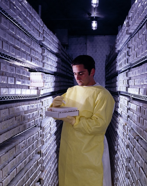 A technician looks at samples at the pharmaceutical lab in Rockville, Maryland