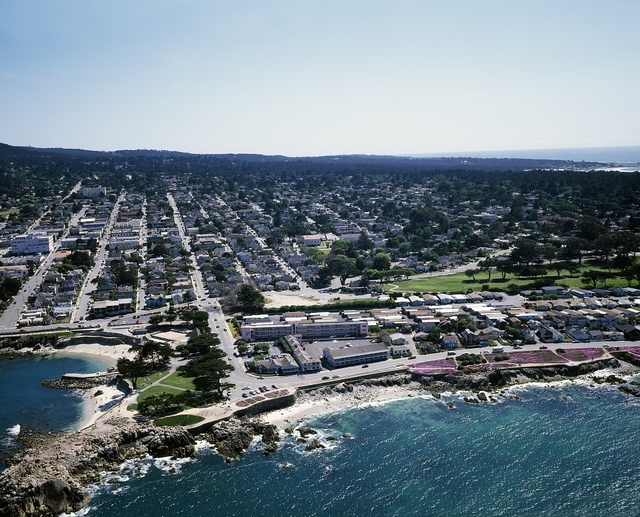 Aerial view of a community on the California coast