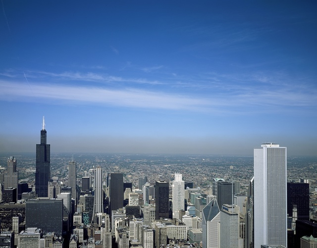 Aerial view of Chicago, Illinois. The black skyscraper is Willis Tower, previously known as Sears Tower, a Chicago landmark
