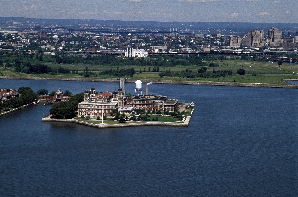 Aerial view of Ellis Island, Jersey City, New Jersey
