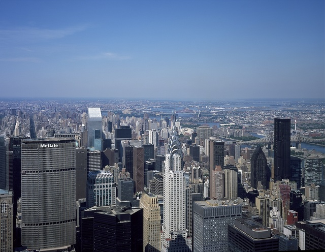 Aerial view of New York City, with the Chrysler Building in the foreground