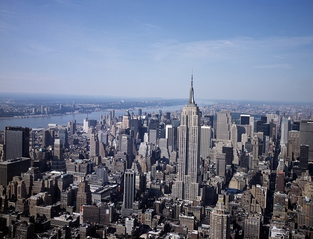 Aerial view of New York, New York, with a focus on the Empire State Building