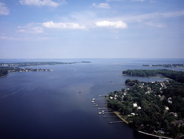 [Aerial view of South River looking toward] Chesapeake Bay near Annapolis, Maryland