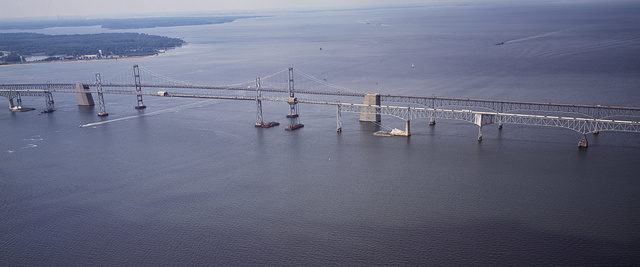 Aerial view of the Chesapeake Bay Bridge, connecting Annapolis with Maryland's Eastern Shore