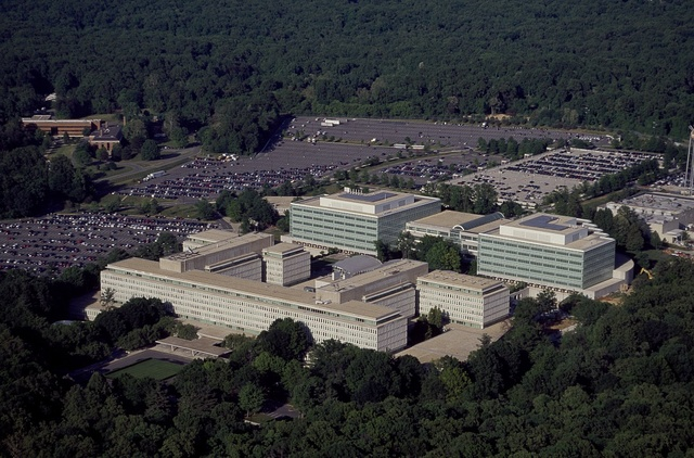 Aerial view of the CIA Headquarters, Langley, Virginia