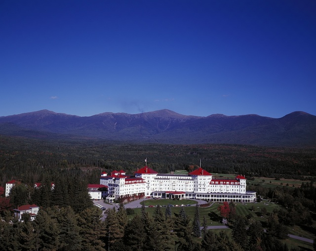 Aerial view of the historic Mount Washington Hotel, Bretton Woods, New Hampshire