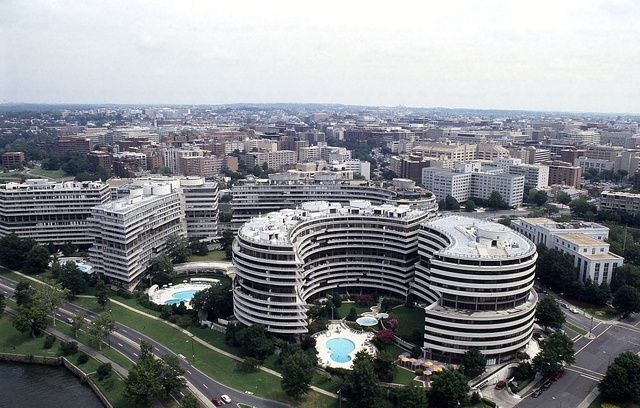 Aerial view of the infamous Watergate Hotel, Washington, D.C.