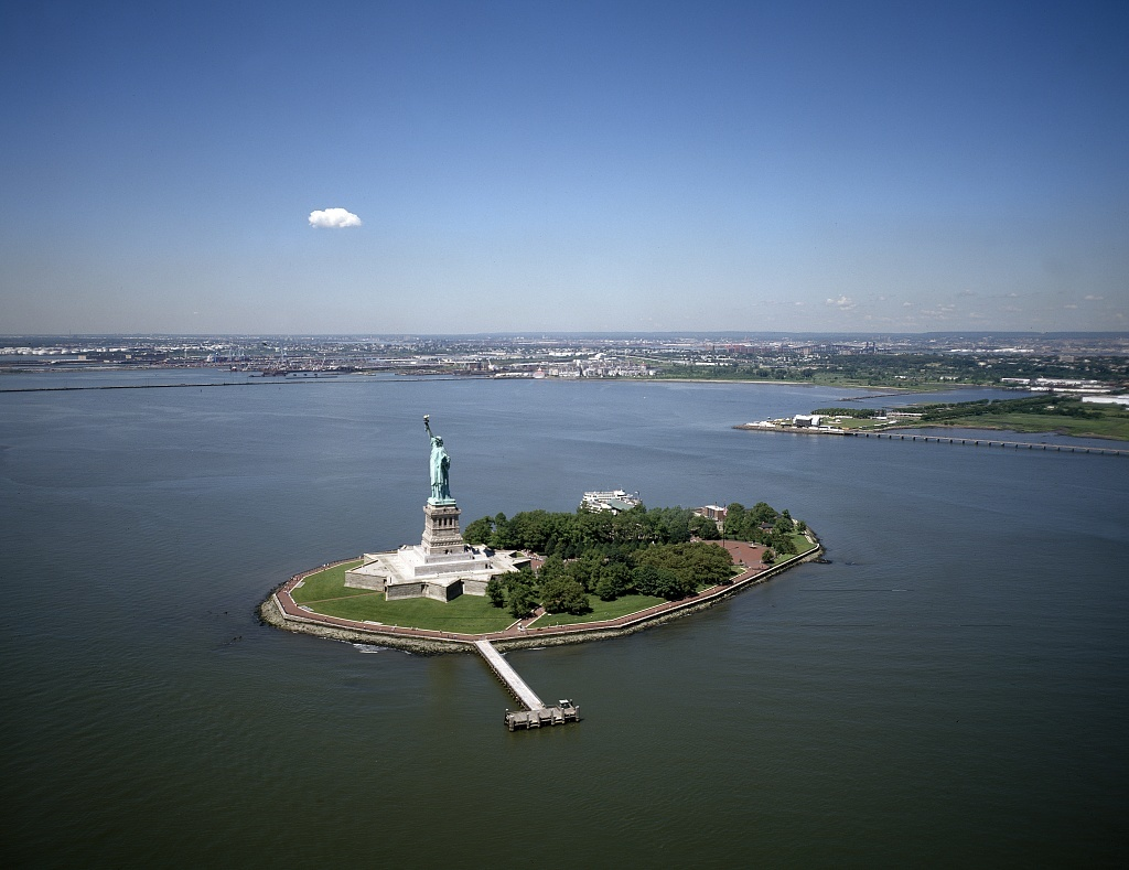 Aerial view of the Statue of Liberty, New York, New York