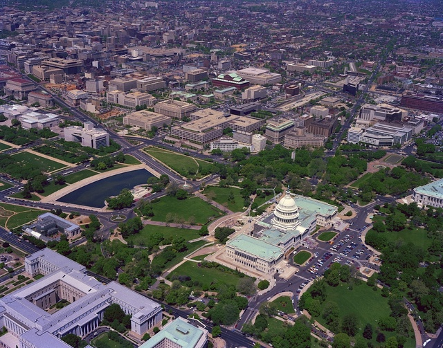 Aerial view with a focus on the U.S. Capitol, Washington, D.C.