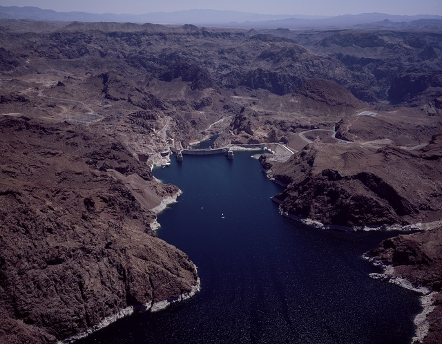Aerial views of Lake Mead National Recreation Area, formed when Hoover Dam backed up the Colorado River. Boulder City, Nevada