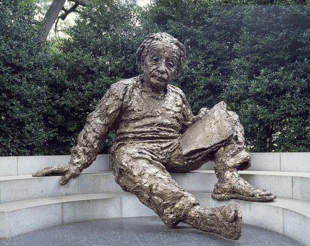 Albert Einstein memorial situated in an elm and holly grove in the southwest corner of the National Academy of Sciences grounds, Washington, D.C.