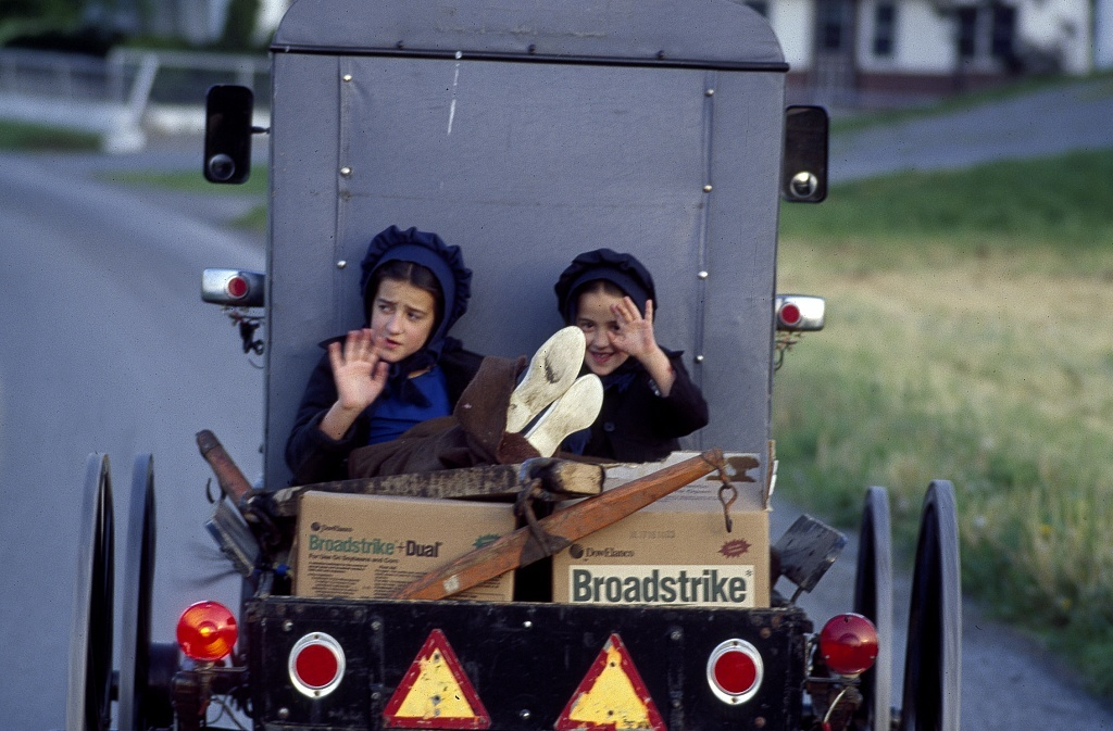Amish children in the back of a buggy on the road in Lancaster County, Pensylvania