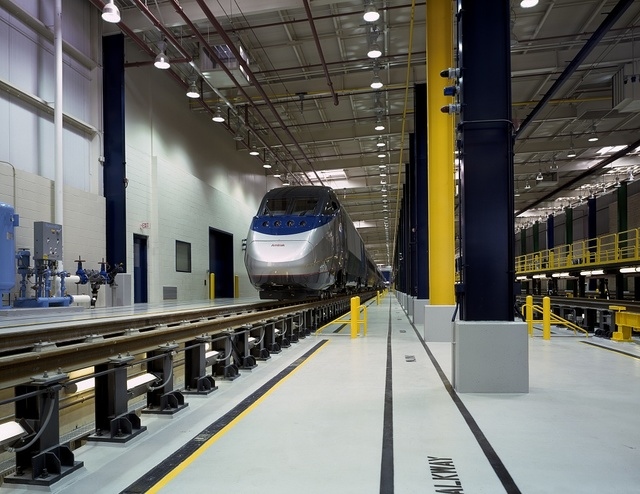 Amtrak's new Acela Express is in the shop at a maintenance facility outide Union Station, Washington, D.C.