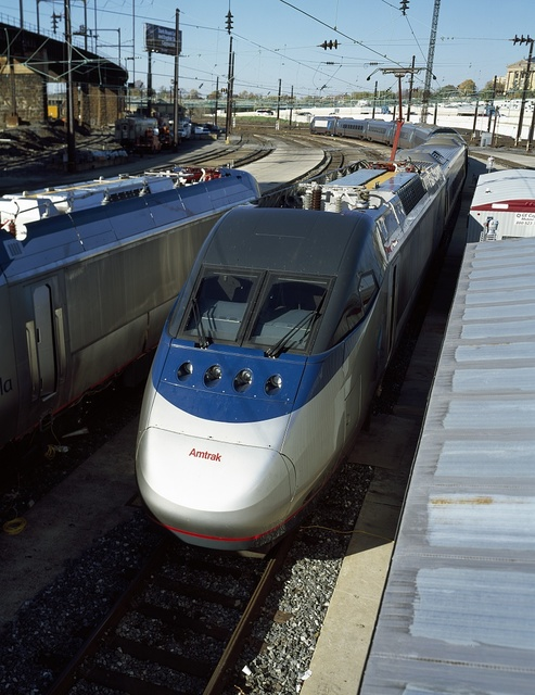 Amtrak's new Acela Express trainset during testing in Philadelphia, Pennsylvania