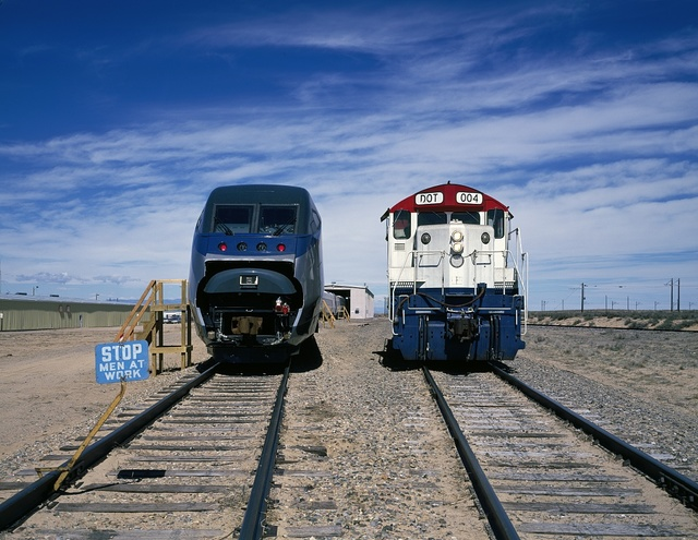 Amtrak's new Acela Express trainset, left, at its test site prior to its introduction. Pueblo, Colorado