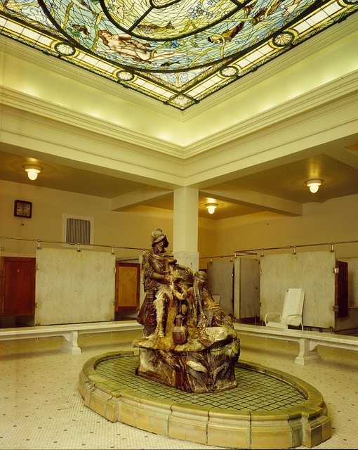 An Indian Maid pours waters for explorer Hernando De Soto in the men's bath at the Fordyce Bathhouse, Helena, Arkansas