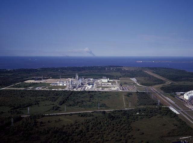 An oil refinery on the Gulf of Mexico near Houston, Texas