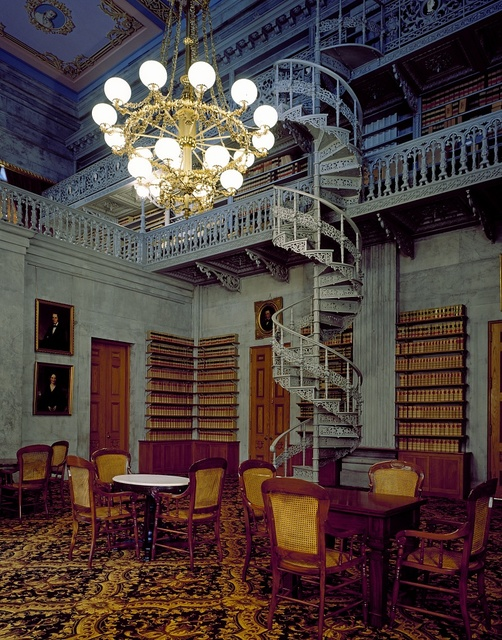 An ornamental cast-iron staircase is a feature in this room, which was once the Tennessee State Library, in the capitol in Nashville, Tennessee